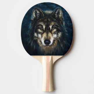 Artistic Wolf Face Ping Pong Paddle