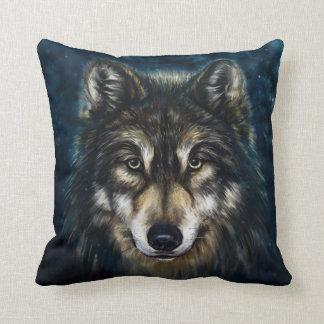 Artistic Wolf Face Throw Pillow