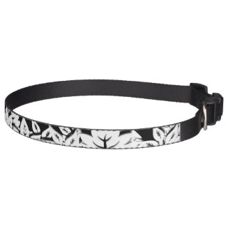 Artistic wooden trees and plants in a line pet collars