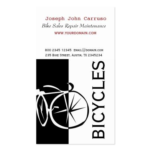 Artistique blanc de vélo de noir classique de modèle de carte de visite