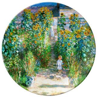 Artist's Garden at Vétheuil Monet Fine Art Plate