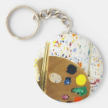 Artists Paint Splatter And Pallet of Paint Basic Round Button Keychain
