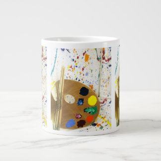 Artists Paint Splatter And Pallet of Paint Large Coffee Mug