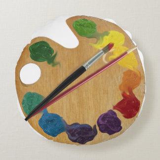Artist's palette rainbow color wheel round pillow