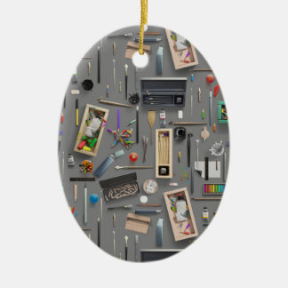 Artist's supplies ceramic oval ornament