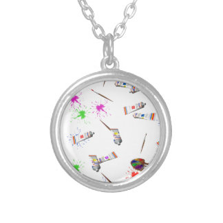 Artists tools silver plated necklace