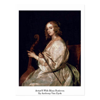 Artist'S Wife Mary Ruthven By Anthony Van Dyck Postcard