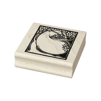 Arts and Crafts Craftsman Peacock Rubber Stamp