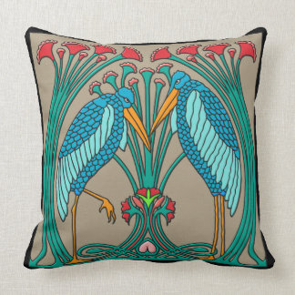 Arts and Crafts Cranes Throw Pillow