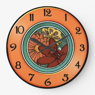 Arts and Crafts Flower Plate in Orange and Green Clock