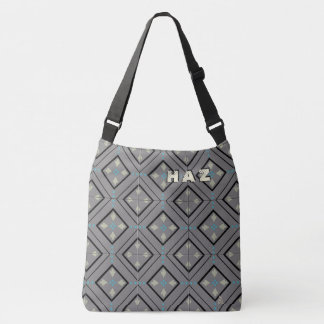 Arts and Crafts Tile in Gray and Black - Monogram Crossbody Bag