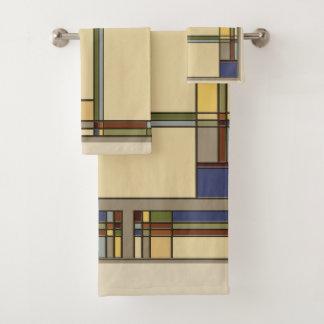 Arts & Crafts Fall Geometric Pattern Bath Towel Set