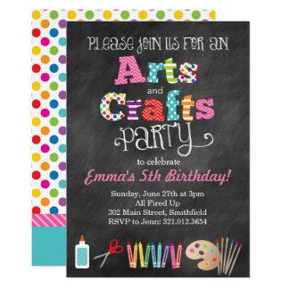Arts & Crafts Party Chalkboard Style Invitation