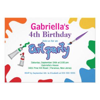 Arts et fête d anniversaire de peinture d enfants invitations personnalisées