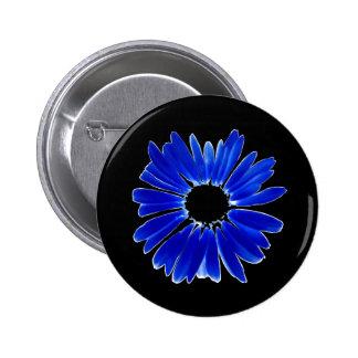 Artsy Abstract Blue Gerbera Daisy Buttons