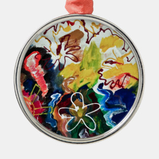 Artsy, abstract bohemian art Silver-Colored round ornament