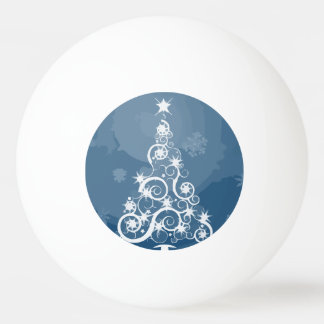 Artsy Blue Christmas Tree Ping Pong Ball