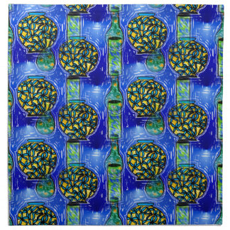 Artsy Blue Vases Design on Cloth Napkins
