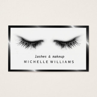 Artsy Chic Black & White Eyelashes Designer Business Card