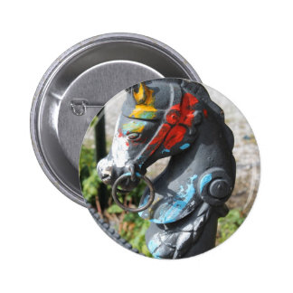 Artsy Colorful Horse Hitching Post, New Orleans 2 Inch Round Button