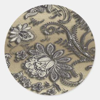 Artsy Embossed Black & Gold Flowers Round Sticker
