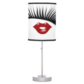 Artsy Feminine Chic Eyelashes & Lips Designer Table Lamp
