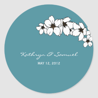 Artsy Flowers Favor Stickers - Teal