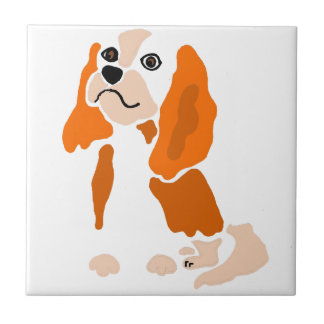 Artsy Fun Cavalier King Charles Spaniel Abstract Tile