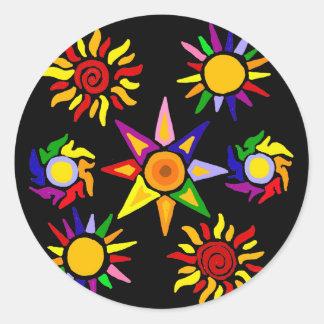 Artsy Fun Sun Abstract Art Round Sticker