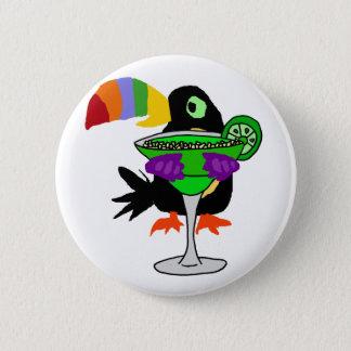 Artsy Funny Toucan Bird Drinking Margarita 2 Inch Round Button