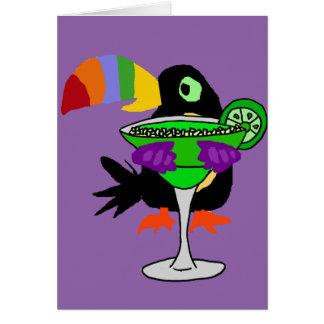 Artsy Funny Toucan Bird Drinking Margarita Card