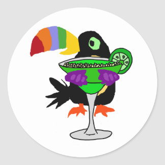 Artsy Funny Toucan Bird Drinking Margarita Classic Round Sticker