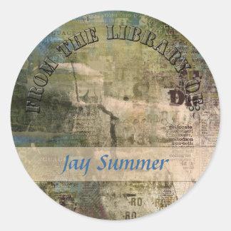 Artsy Graphic Library Plate Round Sticker