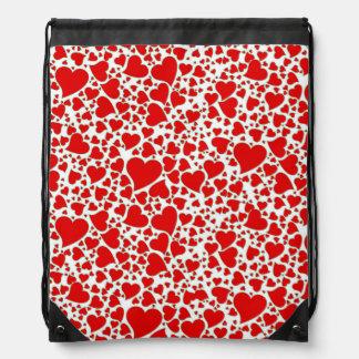 Artsy Holiday Hearts Drawstring Bag