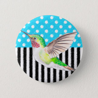Artsy Hummingbird Blue 2 Inch Round Button