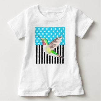 Artsy Hummingbird Blue Baby Romper