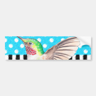 Artsy Hummingbird Blue Bumper Sticker