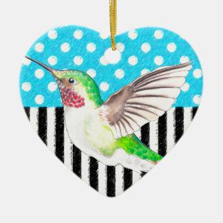 Artsy Hummingbird Blue Ceramic Ornament