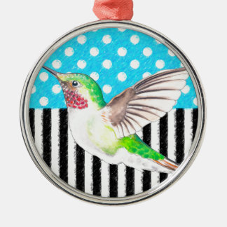 Artsy Hummingbird Blue Metal Ornament