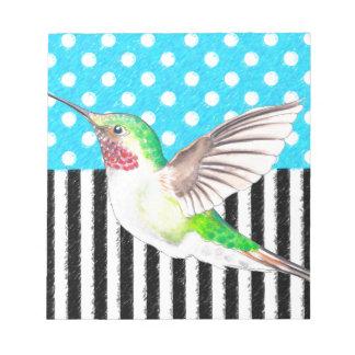 Artsy Hummingbird Blue Notepad