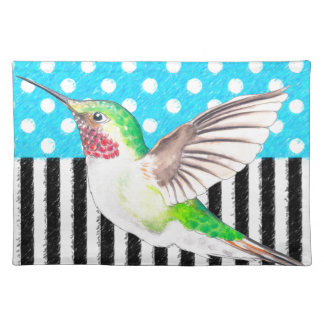 Artsy Hummingbird Blue Placemat