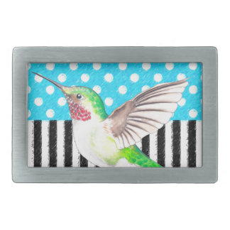 Artsy Hummingbird Blue Rectangular Belt Buckles