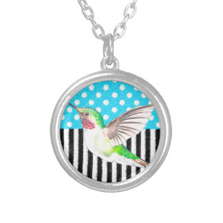 Artsy Hummingbird Blue Silver Plated Necklace