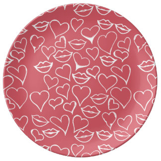 artsy lips and hearts vday plate