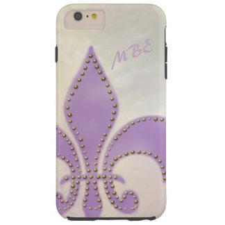 Artsy Mardi Gras Purple Fleur de Lis Tough iPhone 6 Plus Case