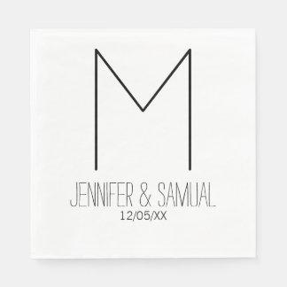 Artsy & Modern Monogram & Date Napkin Paper Napkins