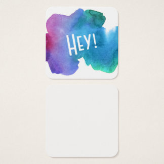 "Artsy Multicolored Watercolor with ""Hey! Notes Square Business Card"