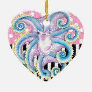 Artsy Octopus Pink Ceramic Ornament