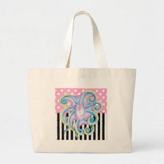 Artsy Octopus Pink Large Tote Bag