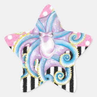 Artsy Octopus Pink Star Sticker